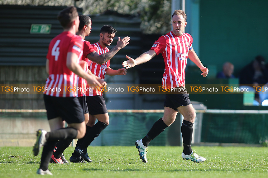 Elliot Styles (R) of Hornchurch scores the winning goal and celebrates during Waltham Abbey vs AFC Hornchurch, Ryman League Division 1 North Football at Capershotts on 8th April 2017