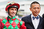 Jockey Neil Callan (L) rode #6 Regency Legend and the trainer Danny Shum Chap-shing pose for photo after winning Race 2 Able Friend Handicap of the Longines Hong Kong International Race at Sha Tin Racecourse on December 09, 2018 in Hong Kong. Photo by Yu Chun Christopher Wong / Power Sport Images