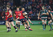 9th December 2017, Thomond Park, Limerick, Ireland; European Rugby Champions Cup, Munster versus Leicester Tigers; Simon Zebo, Munster, makes a break
