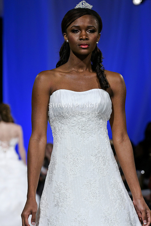 Model walks the runway in Classic by AKAY Bridal. During the Wedding Trendspot Press Fashion Show at the Waldorf-Astoria; October 18 2009