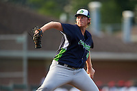 Vermont Lake Monsters starting pitcher A.J. Puk (45) delivers the first pitch of his professional debut in the first inning during a game against the Auburn Doubledays on July 12, 2016 at Falcon Park in Auburn, New York.  Auburn defeated Vermont 3-1.  (Mike Janes/Four Seam Images)