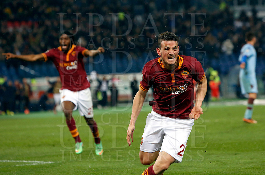 Calcio, Serie A: Roma vs Torino. Roma, stadio Olimpico, 25 marzo 2014.<br /> AS Roma midfielder Alessandro Florenzi celebrates after scoring the winning goal in the last minutes of the Italian Serie A football match between AS Roma and Torino at Rome's Olympic stadium, 25 March 2014. AS Roma won 2-1.<br /> UPDATE IMAGES PRESS/Riccardo De Luca