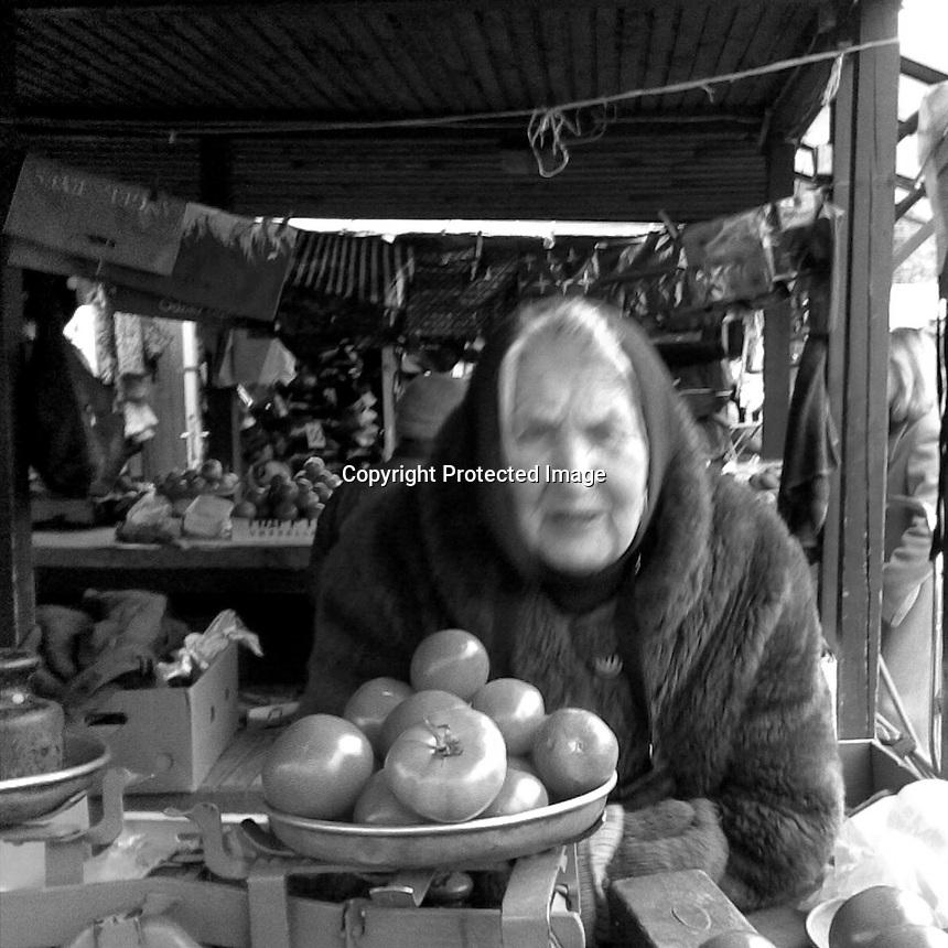 Lithuania, Kaunas. Woman selling food