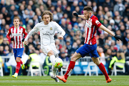 27.02.2016. Madrid, Spain.  Luka Modric (19) Real Madrid during La Liga match between Real Madrid and Atletico de Madrid at the Santiago Bernabeu stadium in Madrid, Spain