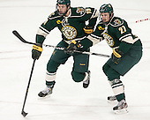 Matt White (UVM - 19), Anders Franzon (UVM - 27) - The Boston College Eagles defeated the visiting University of Vermont Catamounts to sweep their quarterfinal matchup on Saturday, March 16, 2013, at Kelley Rink in Conte Forum in Chestnut Hill, Massachusetts.