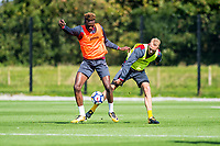Tammy Abraham ( right ) in action during the Swansea City training session at The Fairwood training Ground, Swansea, Wales, UK. Wednesday 13 September 2017