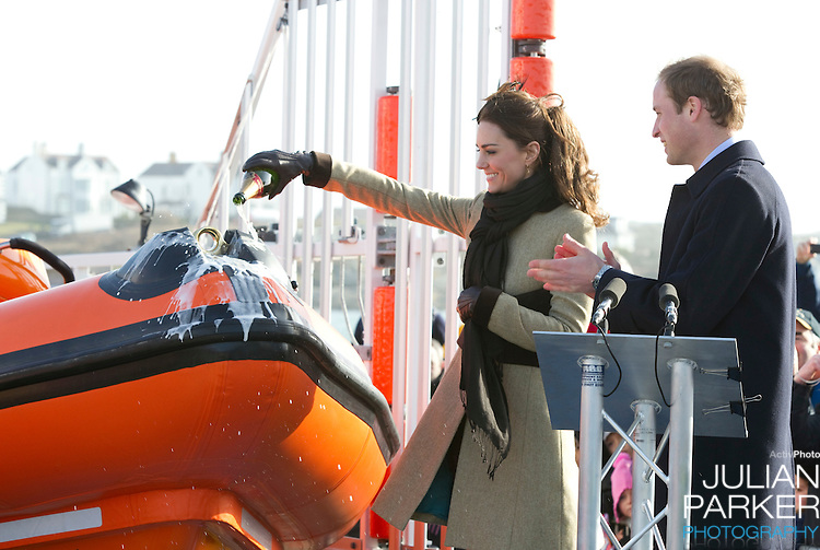 "Prince William, and Catherine Middleton attend the naming ceremony and service of dedication of the Atlantic 85 lifeboat, "" Hereford Endeavour "" at Trearddur Bay Lifeboat Station, in Trearddur Bay, Anglesey."