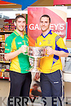 Killian Young and Patrick Curtin pictured at the launch of the Kerry Senior Football Championship sponsored by Garveys Supervalu at Garveys Rock Street Tralee on Monday.