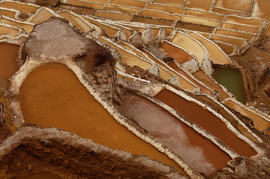 Salt pans near Salinas and Moray in the Sacred Valley of Cusco, Peru. © Michael Brands. 970-379-1885.