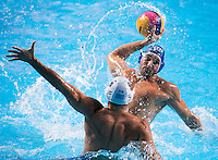 FIGLIOLI Pietro ITA and DELAKAS Evangelos GRE<br /> GREECE vs ITALY<br /> GRE vs ITA<br /> Waterpolo - Men's 3rd-4th place <br /> Day 16 08/08/2015<br /> XVI FINA World Championships Aquatics Swimming<br /> Kazan Tatarstan RUS July 24 - Aug 9 2015 <br /> Photo Giorgio Perottino/Deepbluemedia/Insidefoto