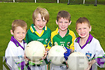 PASS IT HERE: Jamie Keane, Jack Sheehy, Christopher Mulvihill and Vincent O'Doherty enjoying the GAA Cu?l Camp at the Coolard grounds in Ballydonoghue last Friday.