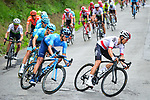 The peloton including Polish Champion Michal Kwiatkowski (POL) Team Sky descend off the C&ocirc;te de Cherave during the 83rd edition of La Fl&egrave;che Wallonne 2019, running 195km from Ans to Huy, Belgium. 24th April 2019<br /> Picture: ASO/Gautier Demouveaux | Cyclefile<br /> All photos usage must carry mandatory copyright credit (&copy; Cyclefile | ASO/Gautier Demouveaux)