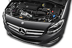 Car Stock 2016 Mercedes Benz B-Class Inspiration 5 Door Mini MPV Engine  high angle detail view