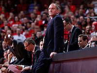 Ohio State Buckeyes head coach Thad Matta watches a replay on the screen during the first half of the NCAA men's basketball game between the Ohio State Buckeyes and the Minnesota Golden Gophers at Value City Arena in Columbus, Ohio, on Saturday, Feb. 22, 2014. At the end of the first half, Minnesota led Ohio State, 28-18. (Columbus Dispatch/Sam Greene)