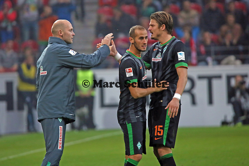 Torjubel Alejandro Galvez und Sebastian Prödl (Werder) beim 1:2 - 1. FSV Mainz 05 vs. SV Werder Bremenl, Coface Arena