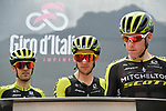 Simon Yates (GBR) and Mitchelton-Scott at sign on before the start of Stage 14 of the 2019 Giro d'Italia, running 131km from Saint-Vincent to Courmayeur (Skyway Monte Bianco), Italy. 25th May 2019<br /> Picture: Gian Mattia D'Alberto/LaPresse | Cyclefile<br /> <br /> All photos usage must carry mandatory copyright credit (© Cyclefile | Gian Mattia D'Alberto/LaPresse)