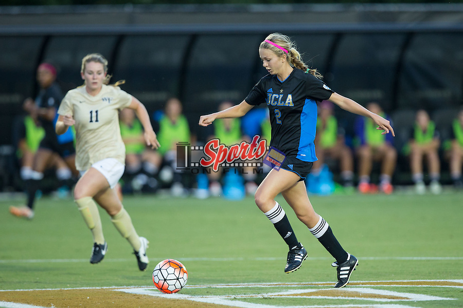 Annie Alvarado (2) of the UCLA Bruins pushes the ball up the field during first half action against the Wake Forest Demon Deacons at Spry Soccer Stadium on September 11, 2015 in Winston-Salem, North Carolina.  The Bruins defeated the Demon Deacons 2-1.  (Brian Westerholt/Sports On Film)