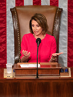 Speaker of the United States House of Representatives Nancy Pelosi (Democrat of California) makes opening remarks as the 116th Congress convenes for its opening session in the US House Chamber of the US Capitol in Washington, DC on Thursday, January 3, 2019. Photo Credit: Ron Sachs/CNP/AdMedia