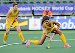 The Hague, Netherlands, June 05: Anna Flanagan #9 of Australia tries to score a penalty corner during the field hockey group match (Women - Group A) between Belgium and Australia on June 5, 2014 during the World Cup 2014 at Kyocera Stadium in The Hague, Netherlands. Final score 2:3 (1:1) (Photo by Dirk Markgraf / www.265-images.com) *** Local caption ***