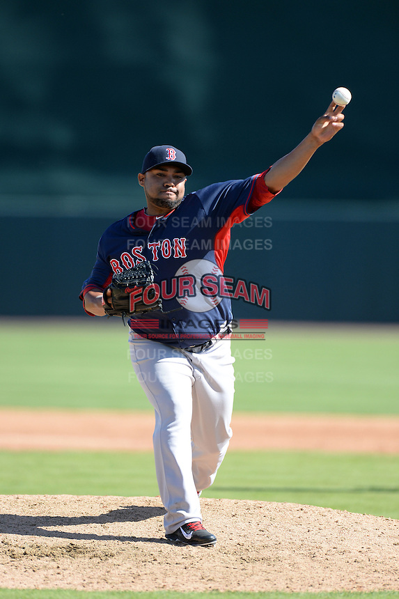 Boston Red Sox pitcher Jose Mijares (50) during a spring training game against the Baltimore Orioles on March 8, 2014 at Ed Smith Stadium in Sarasota, Florida.  Baltimore defeated Boston 7-3.  (Mike Janes/Four Seam Images)