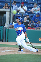 Jacob Scavuzzo (6) of the Rancho Cucamonga Quakes bats during a game against the San Jose Giants at LoanMart Field on August 30, 2015 in Rancho Cucamonga, California. Rancho Cucamonga defeated San Jose, 8-3. (Larry Goren/Four Seam Images)