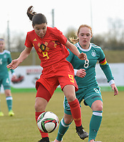 20180314 - TUBIZE , BELGIUM : Belgian Luna Vanzeir (L) and German Lisanne Grawe (R) pictured during the friendly female soccer match between Women under 15 teams of  Belgium and Gemany , in Tubize , Belgium . Wednesday 14 th March 2018 . PHOTO SPORTPIX.BE / DIRK VUYLSTEKE