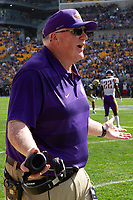 Albany head football coach Greg Gattuso. The Pitt Panthers football team defeated the Albany Great Danes 33-7 on September 01, 2018 at Heinz Field, Pittsburgh, Pennsylvania.