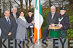 CERMONIAL: Raising the ceremonial Flag to mark the 96th Anniversary of the Easter Rising on Sunday in Pairc An Phairsigh,was mayor of Tralee Grace ODonnell, with grace were, l-r; Michael Scannell (Town Clerk) Michael ODonnell, Grace ODonnell, Nathan Kennedy(St John Pipe Band), Johnny Wall and Gregg Leahy (Drummer St Johns Pipe Band Tralee).....