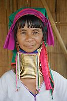 Adult Paduang woman, or Long Neck Karen hilltribe, near Chiang Rai, Thailand.