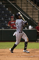 Center fielder Luis Robert (15), on rehab assignment with the AZL White Sox, hits a triple during an Arizona League game against the AZL Angels at Tempe Diablo Stadium on August 3, 2018 in Tempe, Arizona. The AZL White Sox defeated the AZL Angels 6-4. (Zachary Lucy/Four Seam Images)