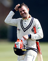 Heino Kuhn is all smiles as he walks off after scoring an unbeaten century during the friendly game between Kent CCC and Surrey at the St Lawrence Ground, Canterbury, on Friday Apr 6, 2018
