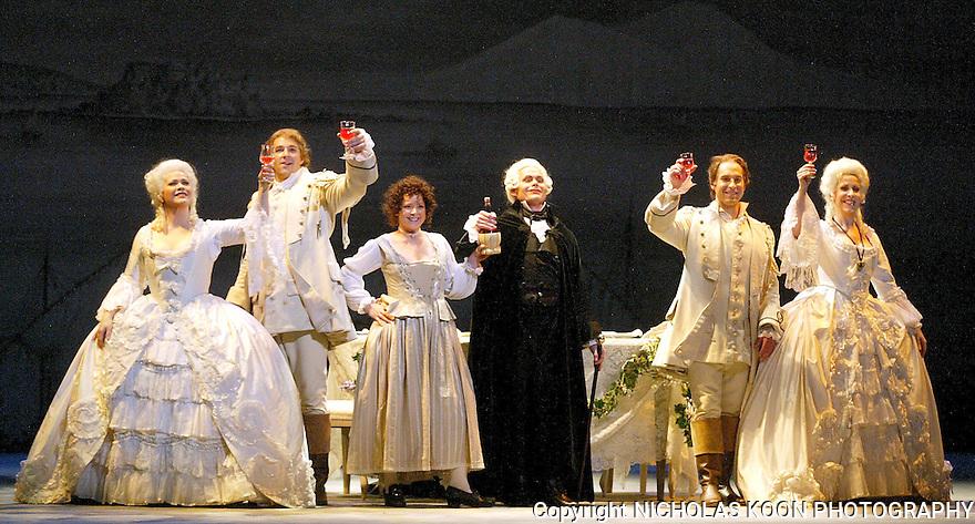 2004 - COSI FAN TUTTE - A Final Toast - L ro R - Fiordiligi (Pamela Armstrong), Ferrando (Eric Cutler), Despina (Alicia Berneche), Don Alfonso (John Packard), Guglielmo (Kyle Ketelsen) and Dorabella (Kristine Jepson) in Opera Pacific's production of Cosi fan tutte.