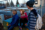 Kendrick Brinson.LUCEO..Ben Putman (blue jacket), 14, Randie Shipp (pink), 13, and Robbie Renolds, (stripes), 14, gather and talk at the Williston Skatepark in Williston, North Dakota, January 2012. Williston is currently experiencing an influx of people relocating there for the town's third oil boom. ..Model Released: no.Assigning Editor: Michael Wichita.