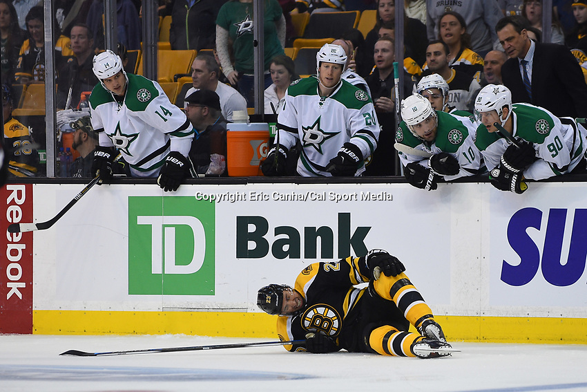 Tuesday, November 3, 2015: Boston Bruins center Chris Kelly (23) reacts in pain on the ice during the National Hockey League game between the Dallas Stars and the Boston Bruins held at TD Garden, in Boston, Massachusetts. Dallas defeats Boston 5-3 in regulation time. Eric Canha/CSM