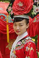 Portrait of waitress, Bai Family Imperial Style Restaurant, Beijing, China