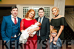 NEW ARRIVAL: Baby Grace Keane, Listowel, who was christened on Saturday by Canon Declan O'Connor in St Mary's Church, Listowel pictured at the celebrations afterwards with her parents Sarah and Paul, godfather Anthony Keane, MJ Locke and godmother Maresa Locke in the Listowel Arms Hotel.