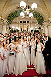 May0060348 . Daily Telegraph<br /> <br /> Debutantes on the grand staircase at the Vienna Opera Ball all wearing tiaras by British jewellery designer Sean Leane in collaboration with Swarovski . <br /> Tickets to the ball start at &euro;270 and a box in the Opera House costs more than &euro;20,000.<br /> It is one of the most exclusive events in the Viennese social calendar and is always kicked off with 186 debutantes and their partners dancing the opening waltz but also attracts celebrities from across the globe .<br /> <br /> Vienna 12 Feb 2015