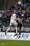 GER - Sandhausen, Germany, March 19: During the 2. Bundesliga soccer match between SV Sandhausen (white) and FC ST. Pauli (grey) on March 19, 2016 at Hardtwaldstadion in Sandhausen, Germany. (Photo by Dirk Markgraf / www.265-images.com) *** Local caption *** Damian Rossbach #4 of SV Sandhausen, Jan-Philipp Kalla #27 of FC St. Pauli