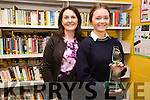 Karen Stapleton a TY student at Colaiste na Sceilge wins the National Newspapers Press Pass for best Features Category pictured here with her teacher Janette Condon.