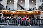Students arriving before the Gilder Lehman Institute of American History Education Matinee of 'Hamilton' at the Richard Rodgers  Theatre on December 15, 2016 in New York City.