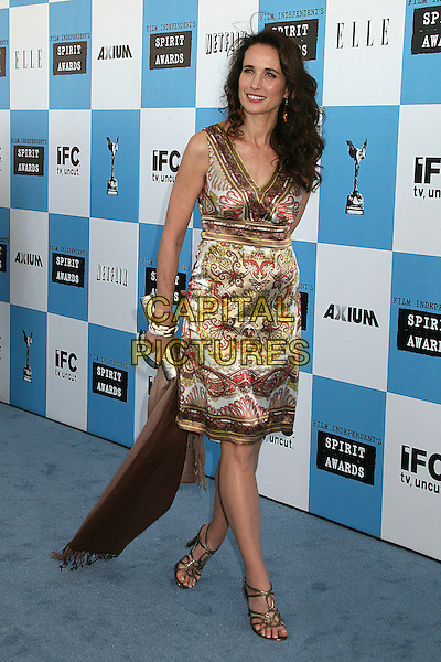 ANDIE MacDOWELL.2007 Film Independent's Spirit Awards at the Santa Monica Pier, Santa Monica, California, USA,.24 February 2007..full length brown cream gold patterned dress.CAP/ADM/BP.©Byron Purvis/AdMedia/Capital Pictures.