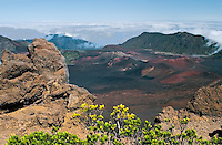 Arid wilderness landscape of the crater in HALEAKALA NATIONAL PARK on Maui in Hawaii