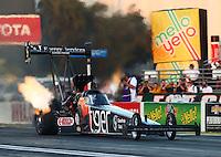 Feb 6, 2015; Pomona, CA, USA; NHRA top fuel driver Larry Dixon during qualifying for the Winternationals at Auto Club Raceway at Pomona. Mandatory Credit: Mark J. Rebilas-