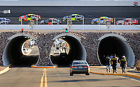 Mar. 1, 2009; Las Vegas, NV, USA; NASCAR Sprint Cup Series drivers race above the tunnel during the Shelby 427 at Las Vegas Motor Speedway. Mandatory Credit: Mark J. Rebilas-