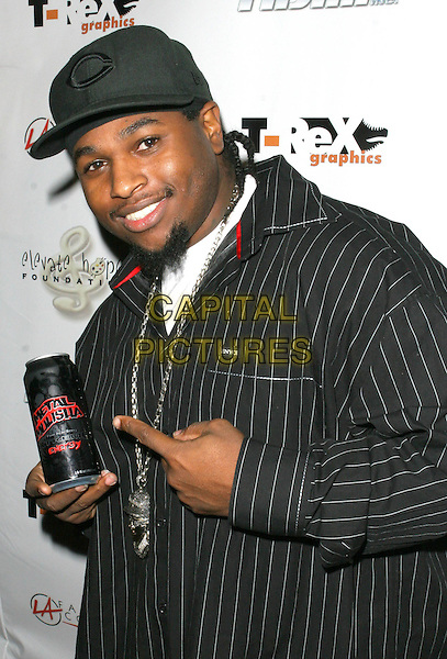 LIL EASY-E.LA Fashion Corner Annual Casting with Style Fashion Design Party 2008, Hollywood, California, USA..December 17th, 2008.half length striped stripes top  black grey gray hat baseball cap energy drink can beverage .CAP/ADM/TC.©T. Conrad/AdMedia/Capital Pictures.