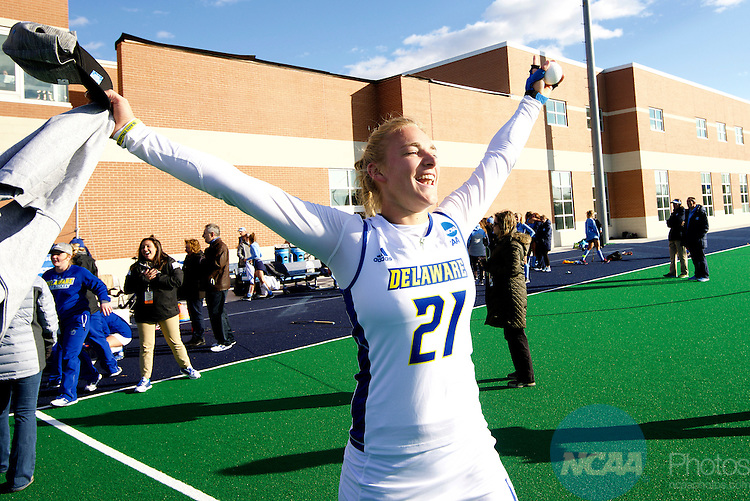 NORFOLK, VA - NOVEMBER 20:  Greta Nauck (21) of the University of Delaware celebrates their victory over the University of North Carolina during the Division I Women's Field Hockey Championship held at the LR Hill Sports Complex on November 20, 2016 in Norfolk, Virginia.  Delaware defeated North Carolina 3-2 for the national title. (Photo by Jamie Schwaberow/NCAA Photos via Getty Images)
