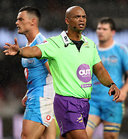 DURBAN, SOUTH AFRICA - APRIL 14: Referee: Egon Seconds (South Africa) during the Super Rugby match between Cell C Sharks and Vodacom Bulls at Jonsson Kings Park Stadium on April 14, 2018 in Durban, South Africa. Photo: Steve Haag / stevehaagsports.com
