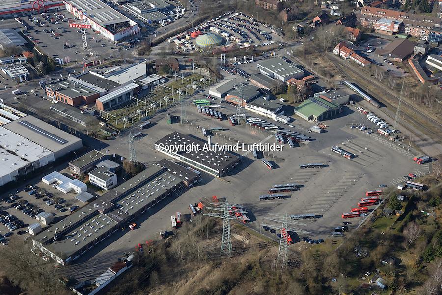 VHH Betriebsflaeche Bergedorf: EUROPA, DEUTSCHLAND, HAMBURG, BERGEDORF (EUROPE, GERMANY), 15.03.2016: Verkehrsbetriebe Hamburg-Holstein GmbH<br /> Curslacker Neuer Deich 37