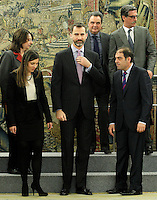 Prince Felipe of Spain attends audience with the award winners of the year 2012 sole trader.January 9 ,2012. (ALTERPHOTOS/Acero) /NortePhoto