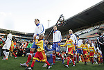13 JUN 2010: Serbia starters march onto the field. The Serbia National Team lost 0-1 to the Ghana National Team at Loftus Versfeld Stadium in Tshwane/Pretoria, South Africa in a 2010 FIFA World Cup Group D match.